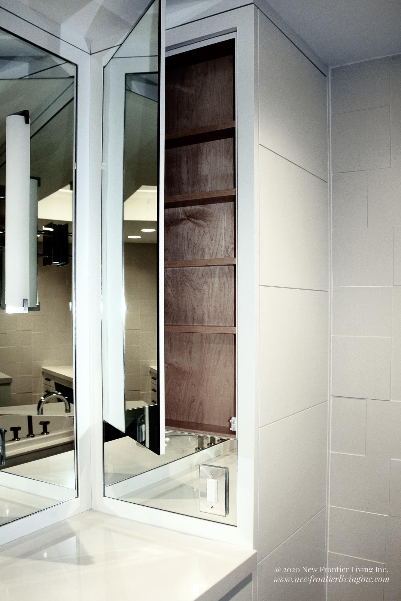 White bathroom installed by NFL Inc. with mirror left side