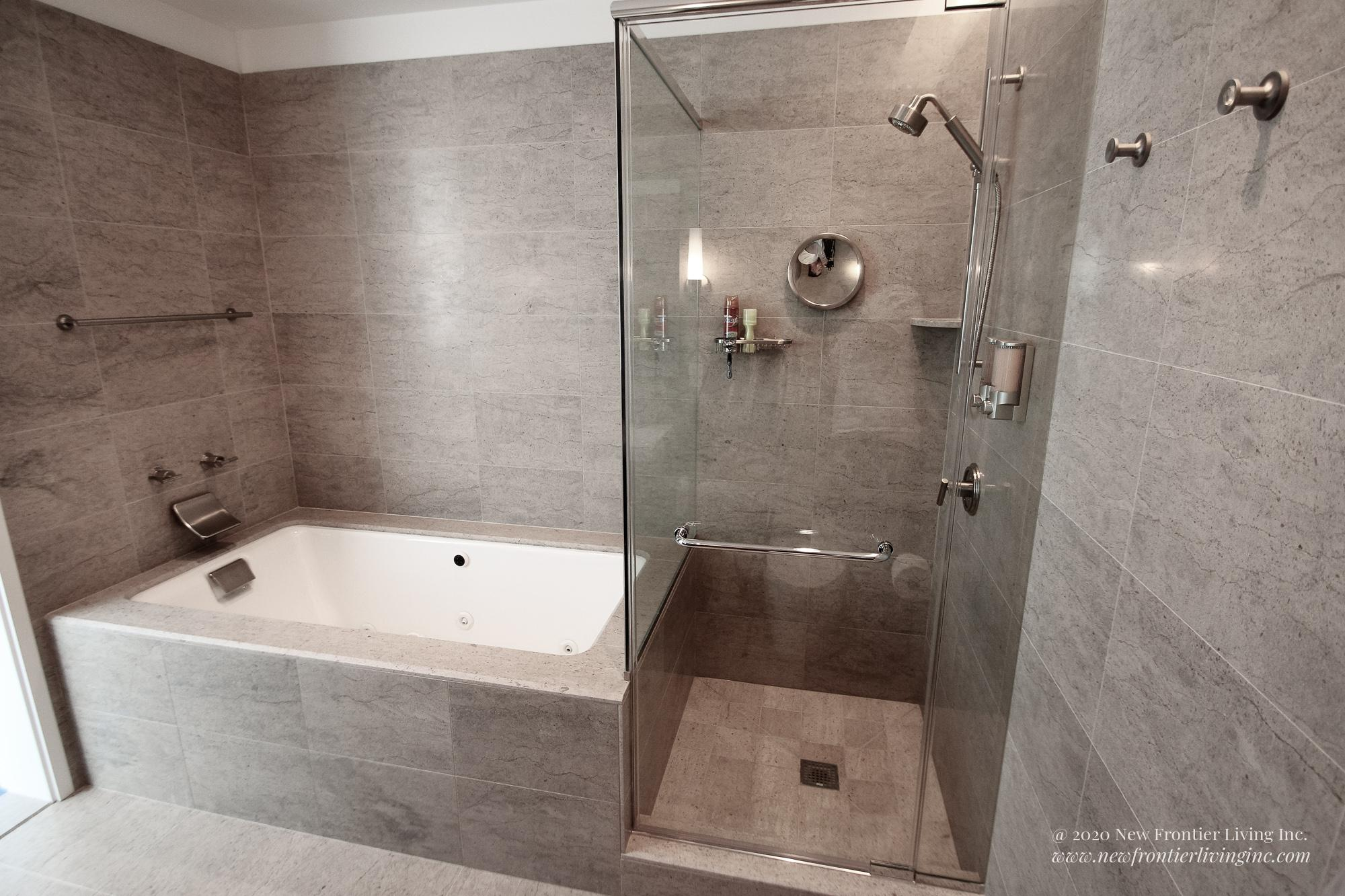 Cream brown bathroom installed by NFL Inc. walk-in shower and tub