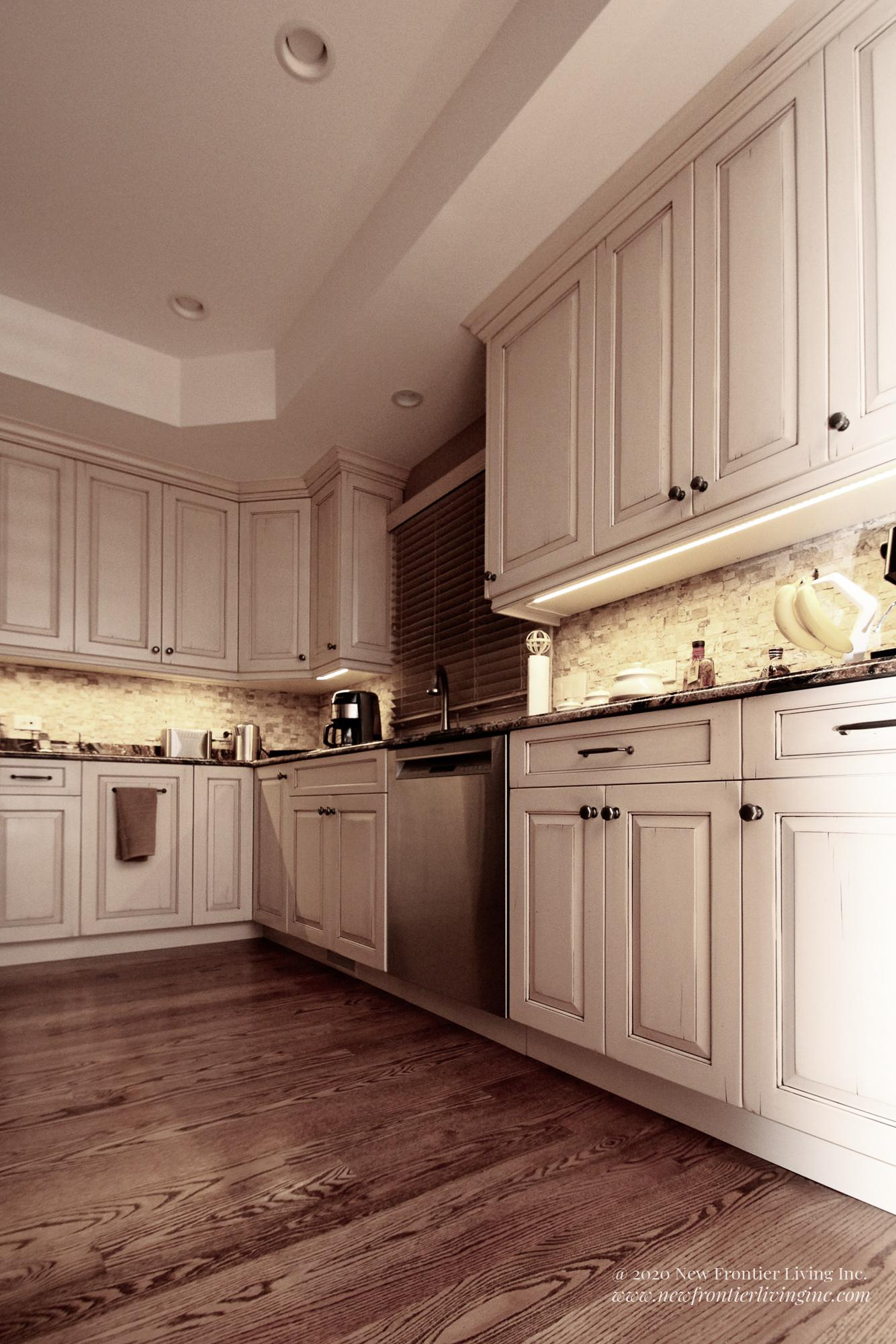 Custom light brown kitchen lower cabinets, dishwasher and small appliances on the countertop close-up