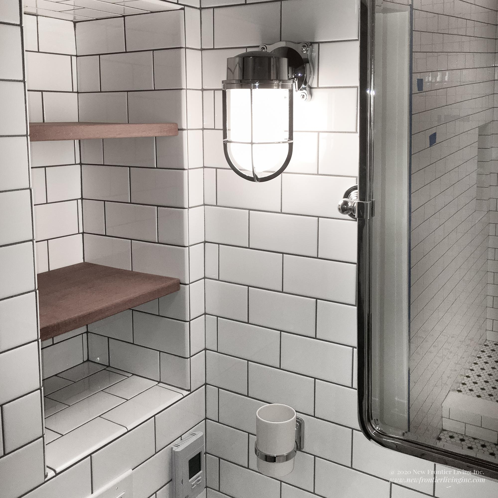 Traditional white ceramic bathroom shelves and cup holder