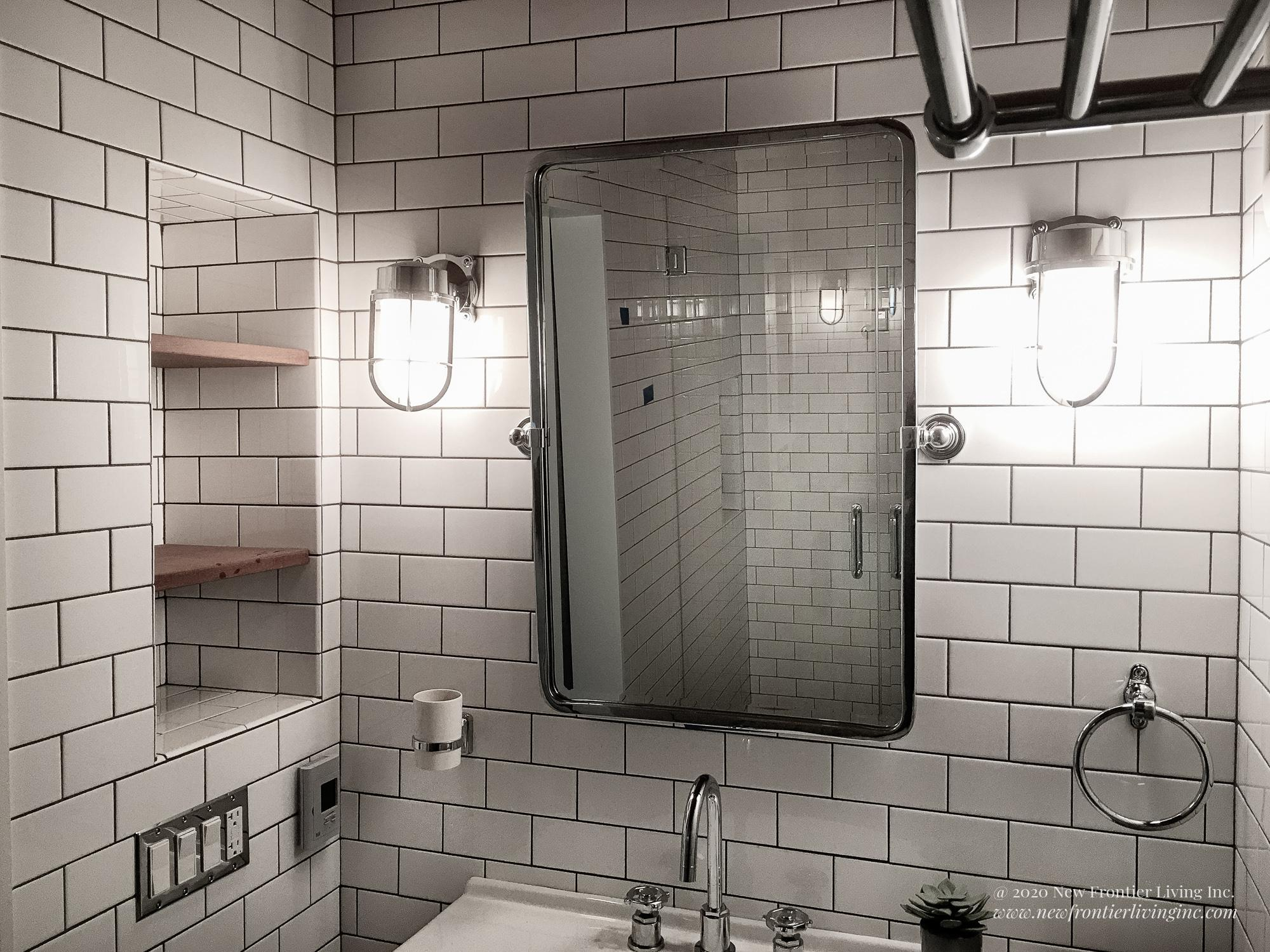 Traditional white ceramic bathroom mirror