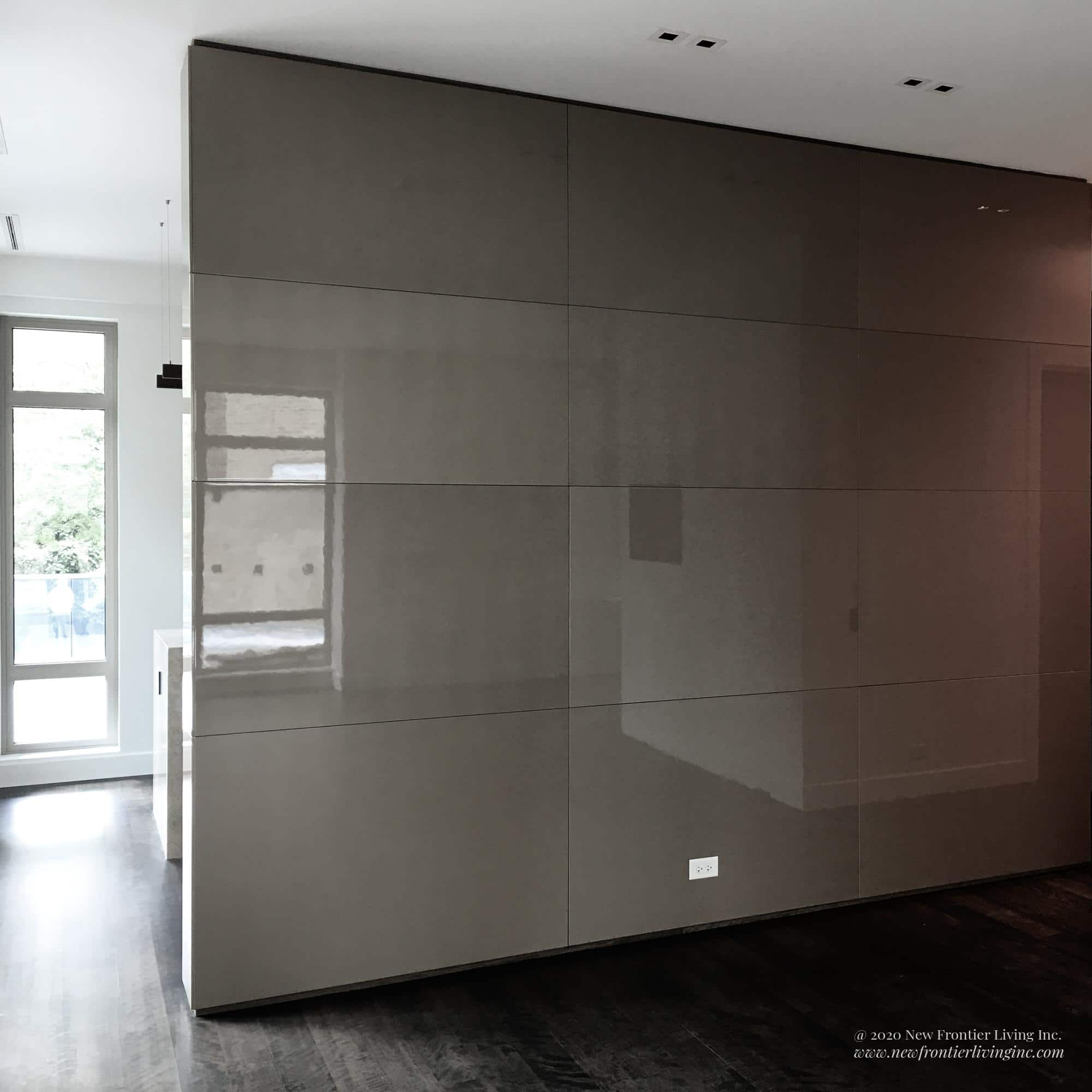 Large light brown glossy wall as a partition