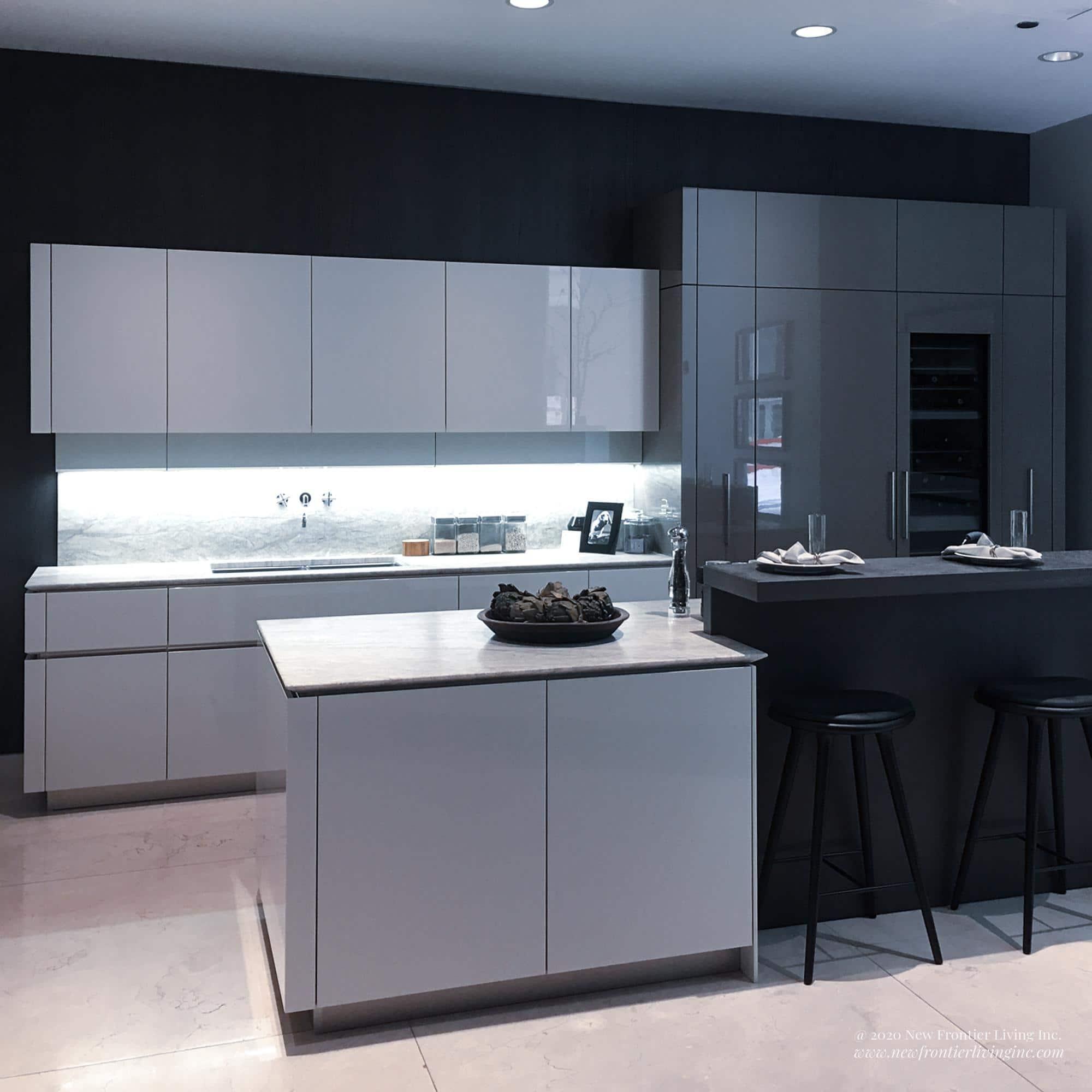 Alternative black and white kitchen islands