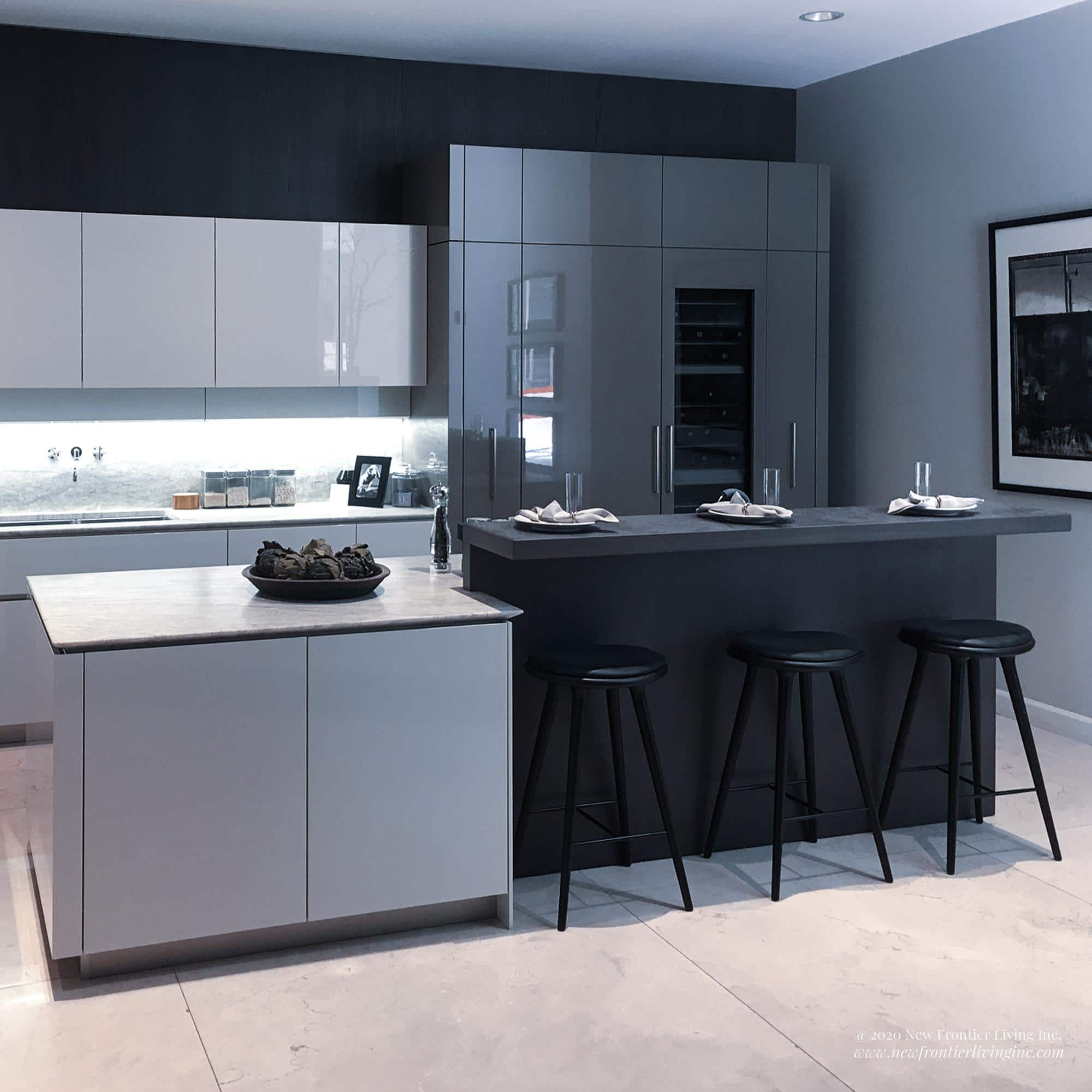Alternative black and white kitchen cabinetry sections and two islands, white work island and seating black island