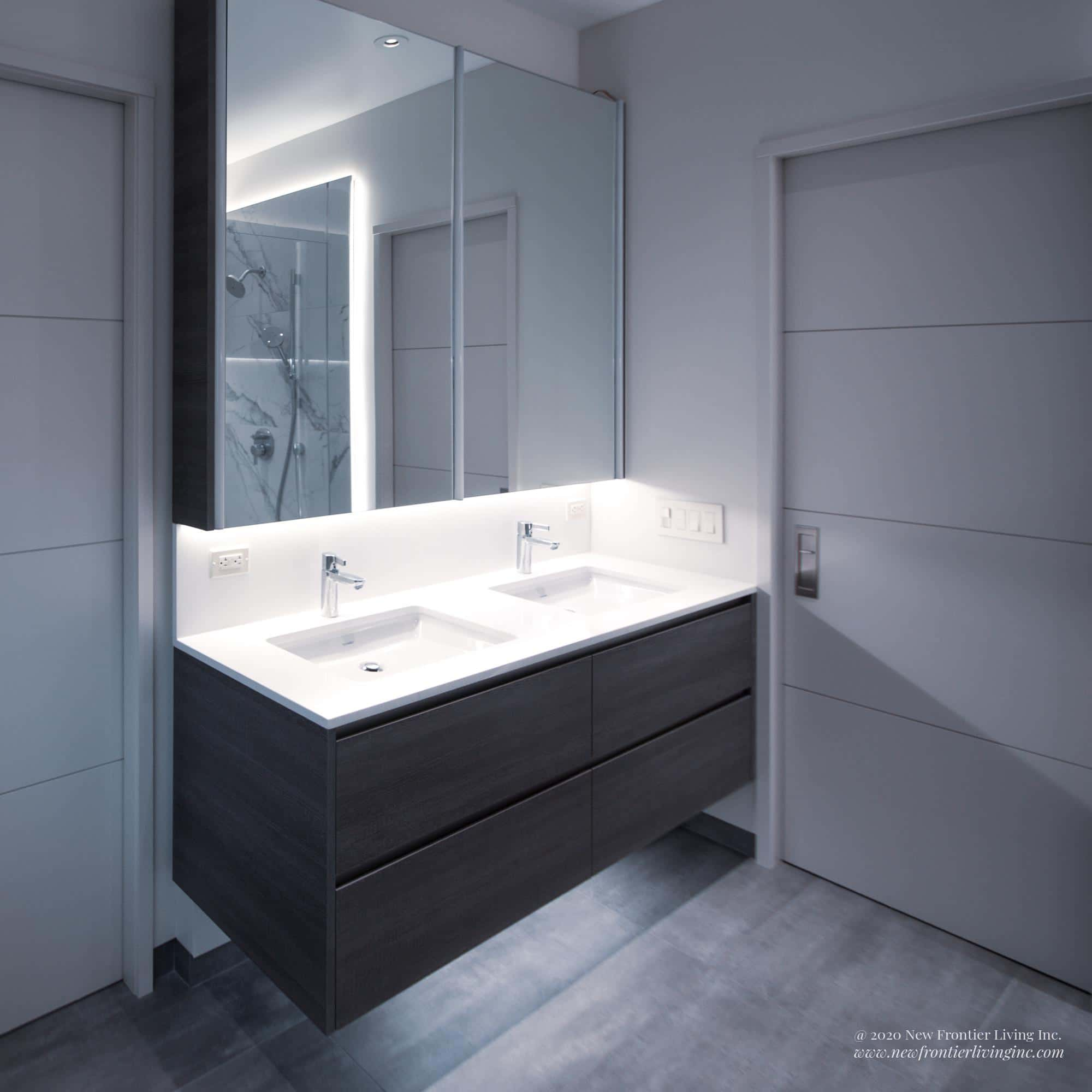 Gray bathroom hanging vanity with white countertop for double sink with big mirror and pocket doors