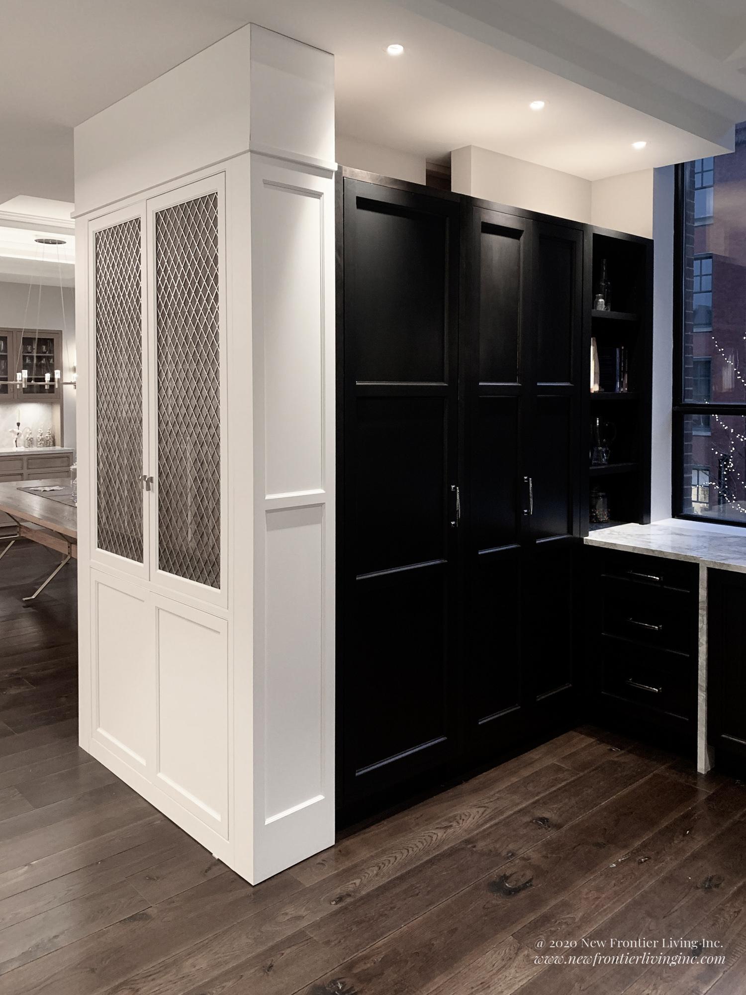 Alternative white and black tall kitchen storage units