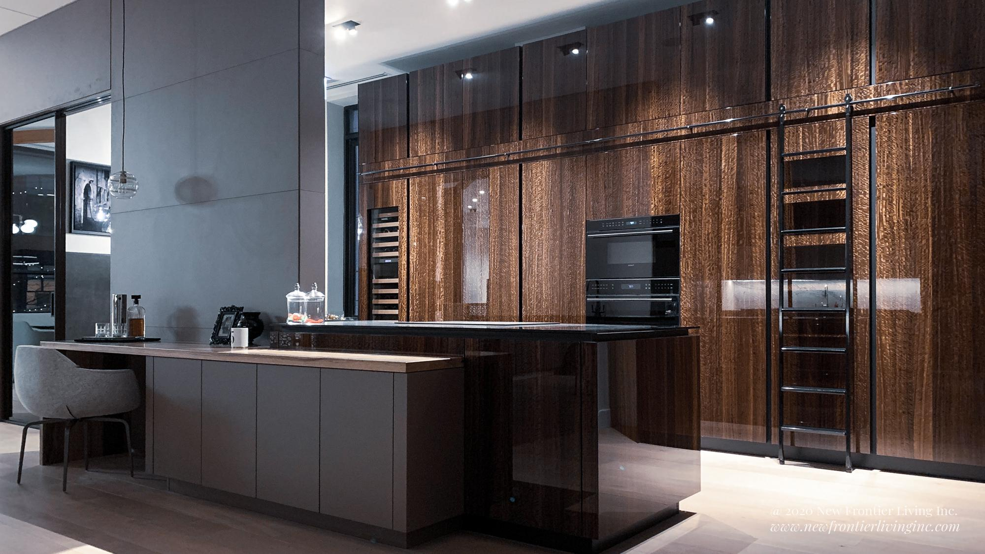 Brown glossy kitchen with a sliding ladder