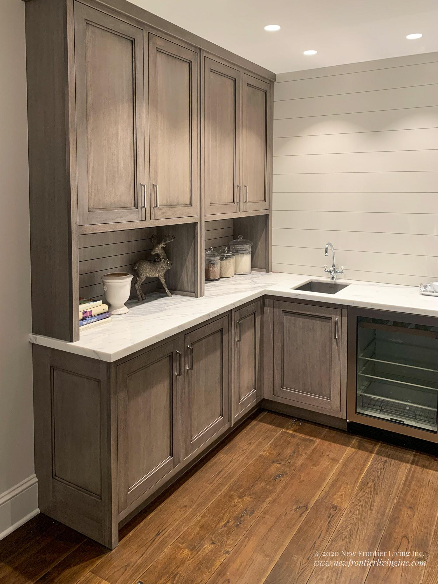 Matte finish traditional peach kitchen cabinetry