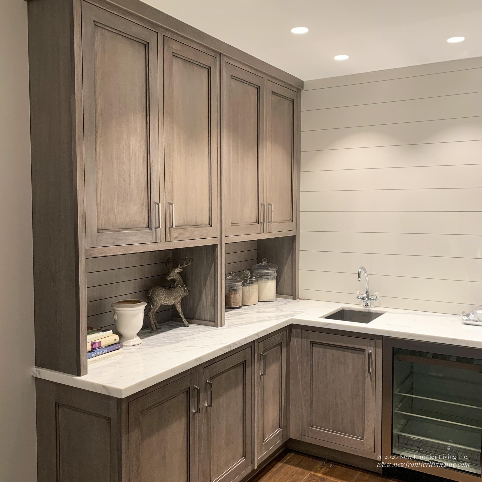 Matte finish traditional peach kitchen cabinetry  with white countertop