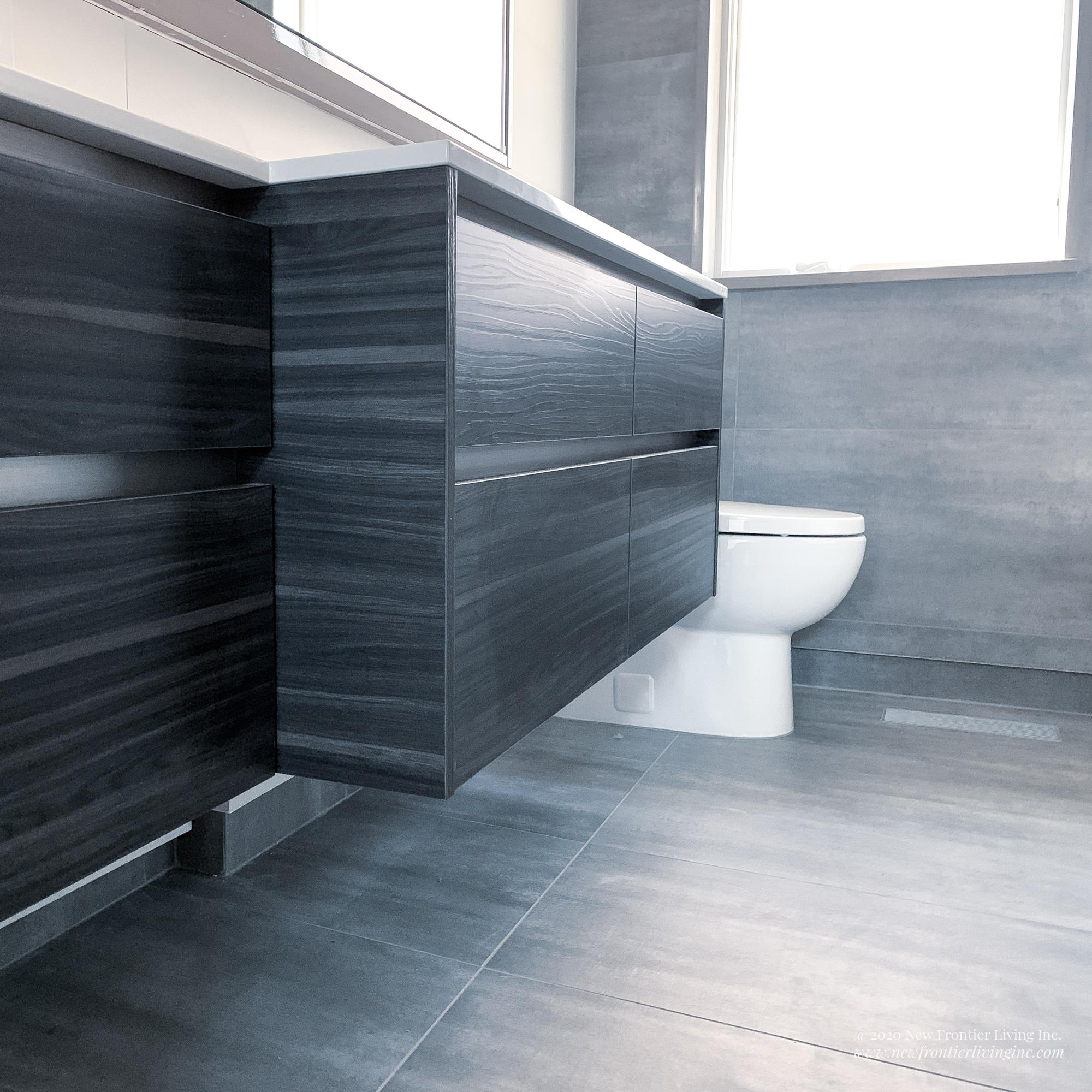 Small dark and light gray bathroom low angle, toilet and window in view
