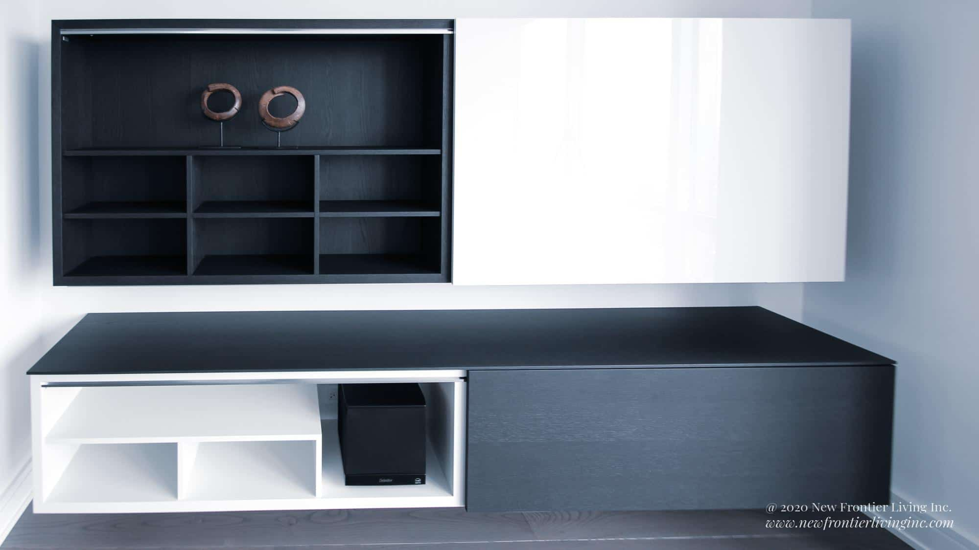 Cross black and white entertainment cabinet