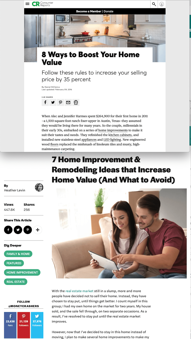 Articles on home improvement value increases