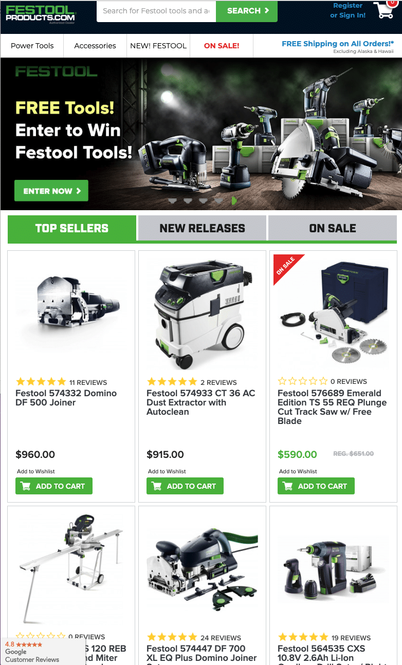 Festools on Amazon.com